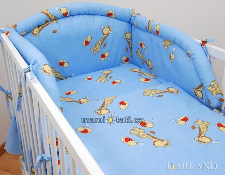 Mantinel do postieľky - Žirafky modré, 120x60