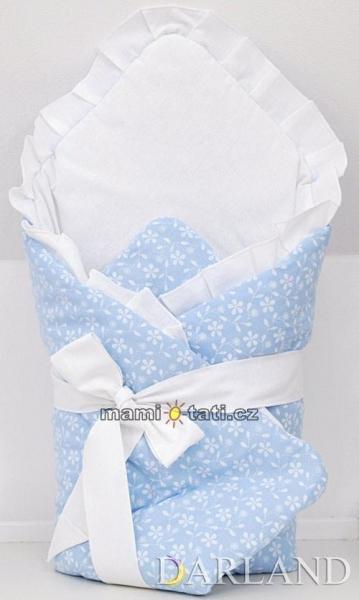 Luxusné zavinovačka s mašľou - Kvetinky v modrej