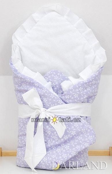Luxusné zavinovačka s mašľou - Kvetinky vo fialovej