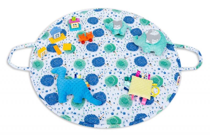 Hracia podložka, taška 2v1 - Púpavy modré,žltá