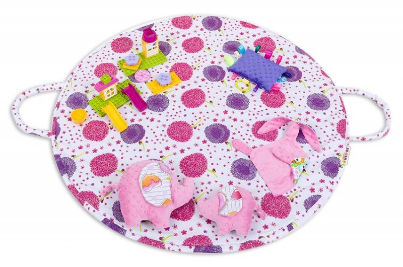 Hracia podložka, taška 2v1 - Púpavy růžové,malina