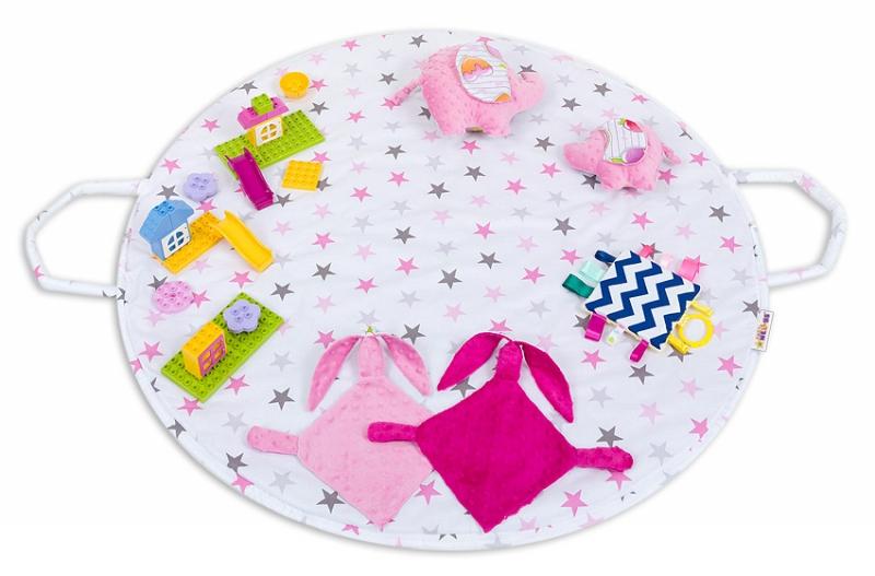 Hracia podložka, taška 2v1 - Hviezdičky růžové,sivé,malina