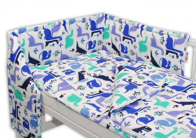 Baby Nellys Mantinel s obliečkami - Dinosaurus modrý