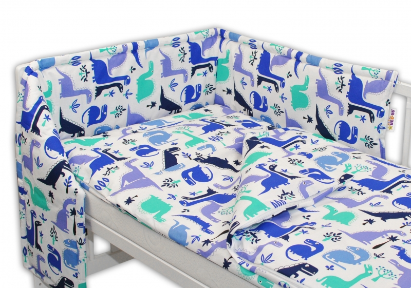 Baby Nellys Mantinel s obliečkami 135x100 - Dinosaurus modrý