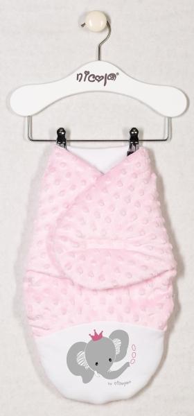 Oteplená zavinovacia deka, zavinovačka MALÝ Sloník Minky - ružová
