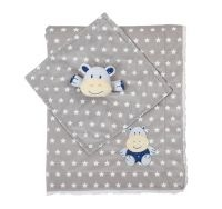 BabyOno Luxusná obojstranná deka Minky s maznáčikom - sivá