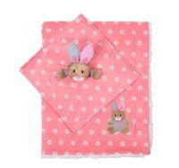 BabyOno Luxusná obojstranná deka Minky s maznáčikom - ružová