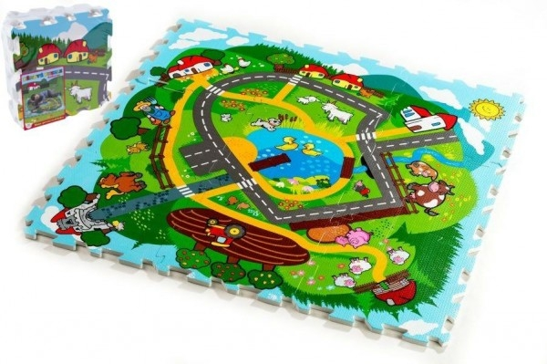 Teddies Pěnové puzzle Město Moje první zvířátka 30x30x1,2cm 9ks MPZ