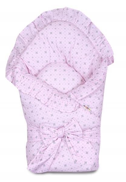 Baby Nellys  Rýchlozavinovačka 80x80cm s volánikom a stuhou - kárko rúžové