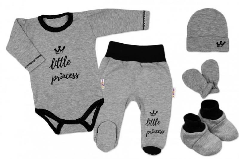 Baby Nellys Súpravička do pôrodnice Princess - sivý, vel. 62