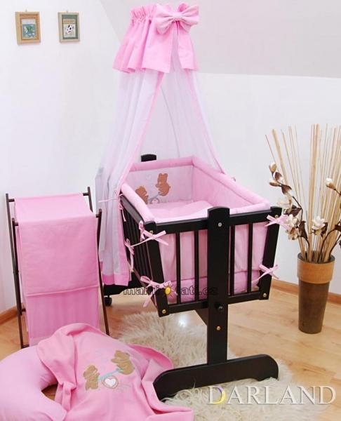 Luxusný set do kolísky Š - Medvedíky na hojdačke v ružovej