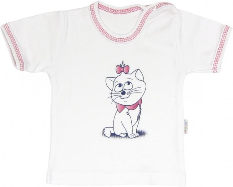 Mamatti Bavlnené tričko Mačka Srdiečko - krátky rukáv, roz. 98-98 (24-36m)