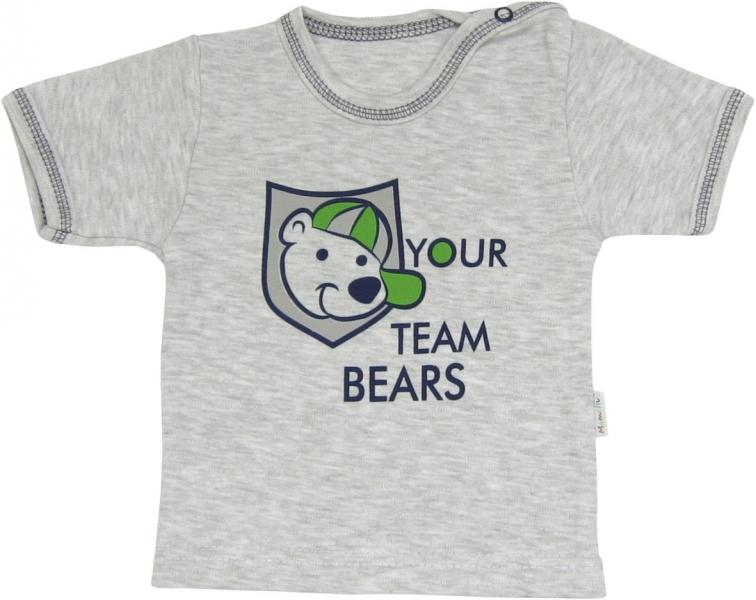 Mamatti Bavlnené tričko Medvedík prúžok - krátky rukáv, roz. 80-80 (9-12m)