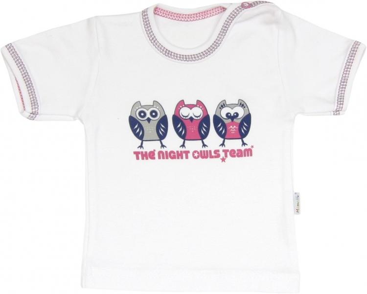 Mamatti Bavlnené tričko Sovy - krátky rukáv, roz. 80-80 (9-12m)
