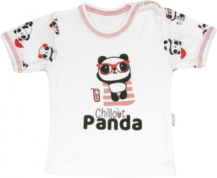 Bavlnené tričko Panda - krátky rukáv, roz. 86-86 (12-18m)