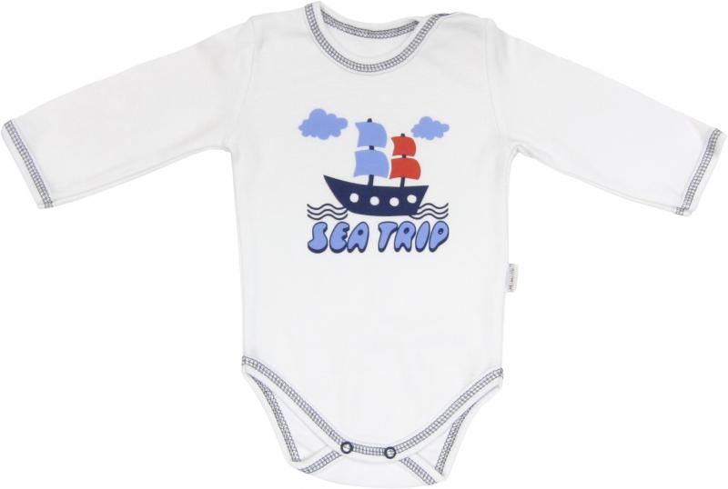 Dojčenské body Parník - dlhý rukáv, roz. 92-92 (18-24m)