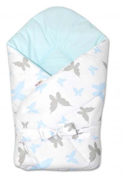 Baby Nellys  Obojstranná zavinovačka 75x75cm so stuhou Motýliky - biela / blede modrá