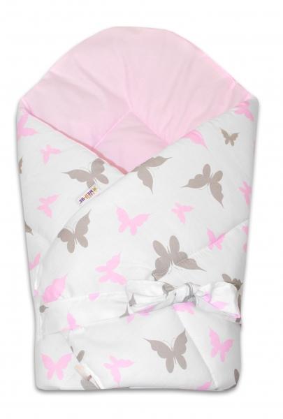 Baby Nellys  Obojstranná zavinovačka 75x75cm so stuhou Motýliky - biela / sv. ružová