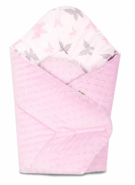 Baby Nellys  Obojstranná zavinovačka 75x75cm Minky - Motýliky - sv. ružová