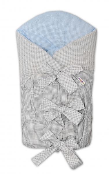 BABY NELLYS Zavinovačka Safety 75x75 cm - sivá/modrá - jemná kostička, K19