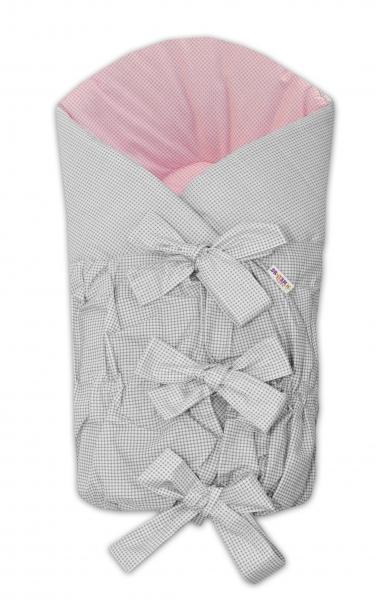 BABY NELLYS Zavinovačka Safety 75x75 cm - sivá/ružová - jemná kostička, K19