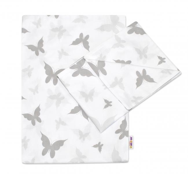 Baby Nellys 2-dielne bavlnené obliečky Motýliky - šedé