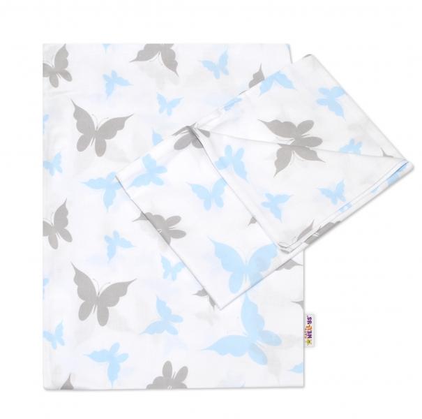 Baby Nellys 2-dielne bavlnené obliečky Motýliky - modré