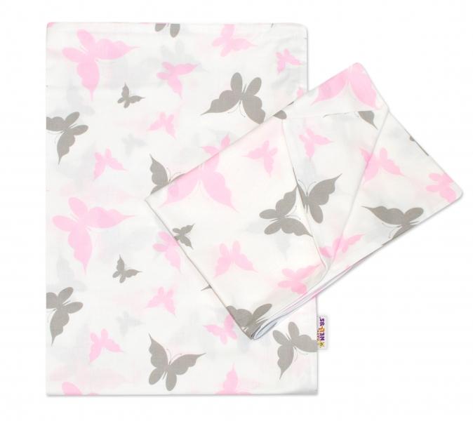2-dielne bavlnené obliečky Motýliky - ružové 120x90 cm