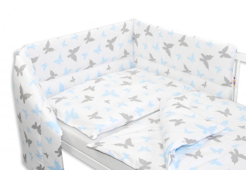 Baby Nellys 3- dielná sada mantinel s obliečkami 135x100 Motyliki - modrá