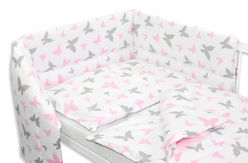 Baby Nellys 3- dielná sada mantinel s obliečkami 135x100 Motyliki - ružová