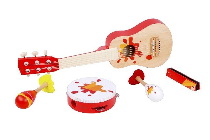 Sada drevených hudobných nástrojov - 5 ks