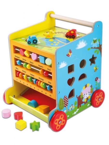 Eco toys Drevené chodítko, edukačná kocka