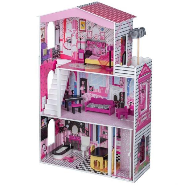 Eco toys Drevený domček pre bábiky s výťahom - Rezidencia Miami