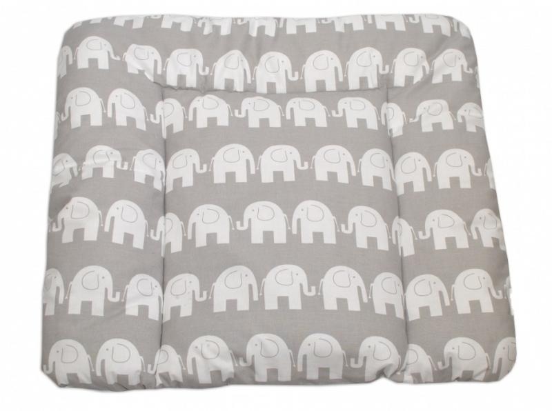 Mamo Tato Prebaľovacia podložka 70x75cm, Slony bieli v šedej
