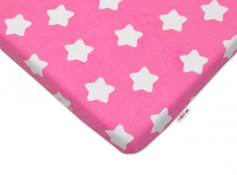Bavlnené prestieradlo 60x120 - Sweet Stars - ružová