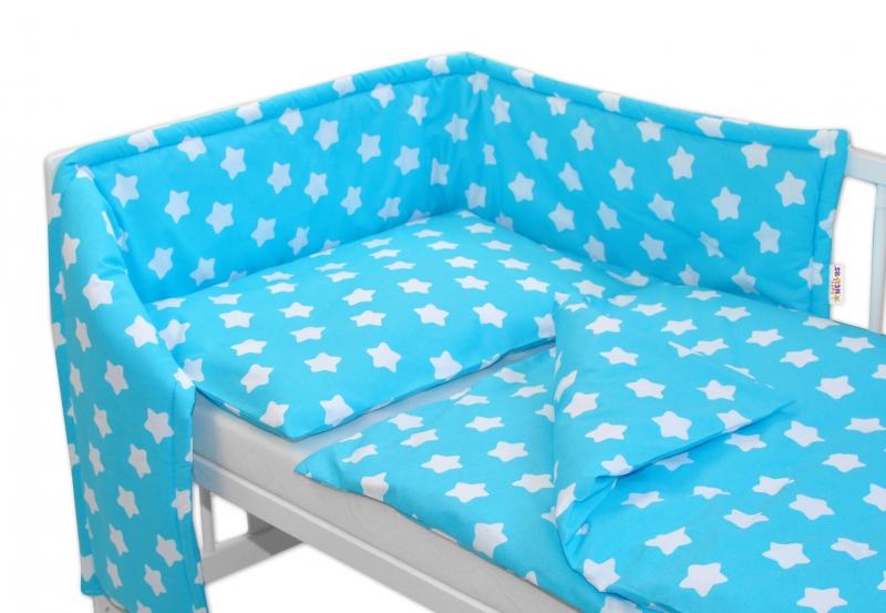 Baby Nellys Mantinel s obliečkami 135x100 - Sweet Stars - tyrkysová