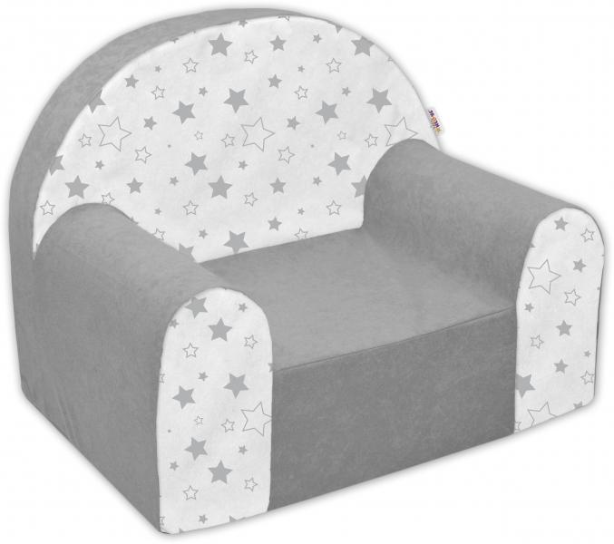Detské kresielko / pohovečka Nellys ® - Magic star - sivé/bielé