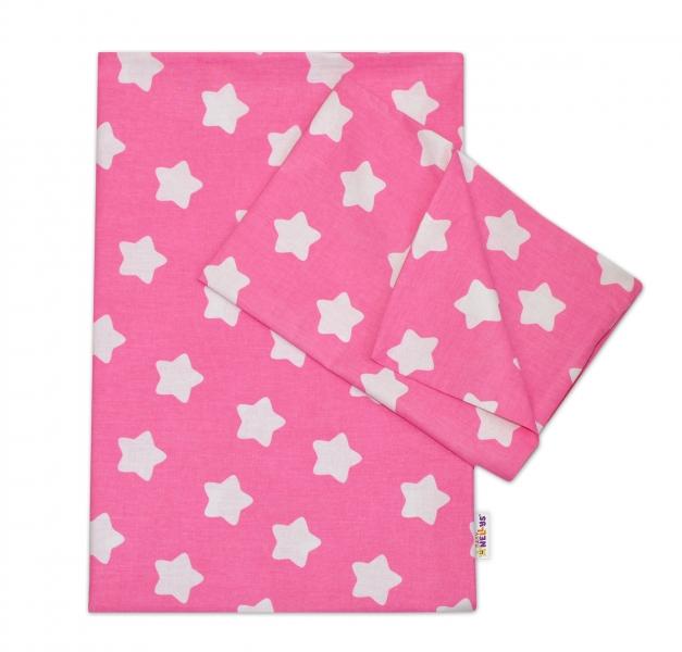 Baby Nellys Bavlnené obliečky 140 x 200/70x80 - Sweet Stars - ružová