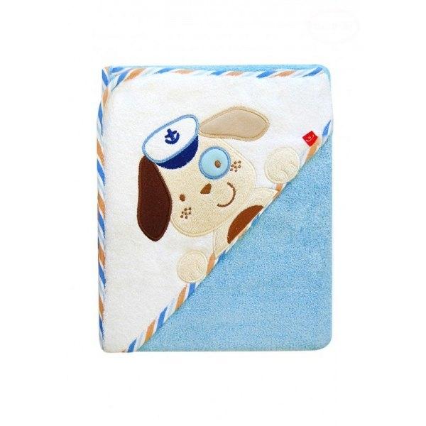 Detská osuška s kapucňou Psík  - modrá