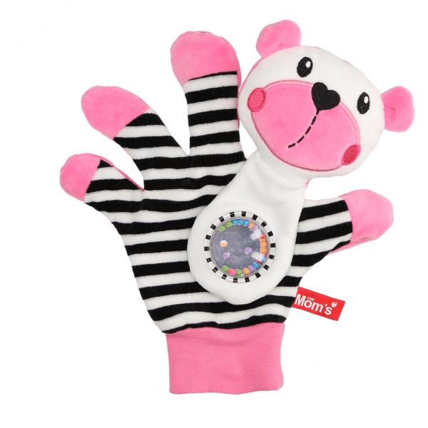 Edukačná hračka maňuška s hrkálkou - Medvedík - zrkadielko -ružové