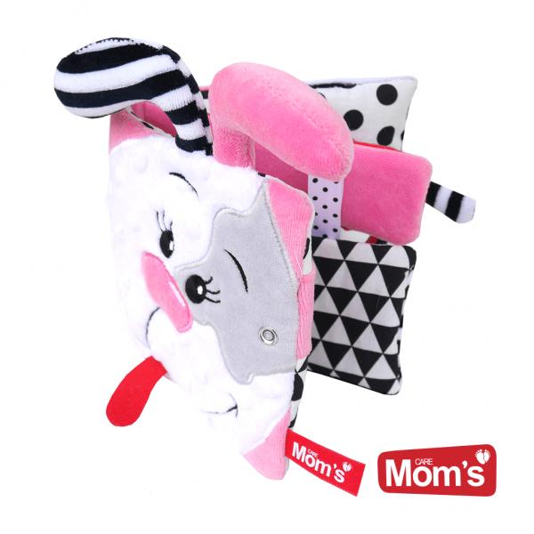 Hencz Toys Textilná knižka šustík so zrkadielkom a hryzátkom Psík Pinky