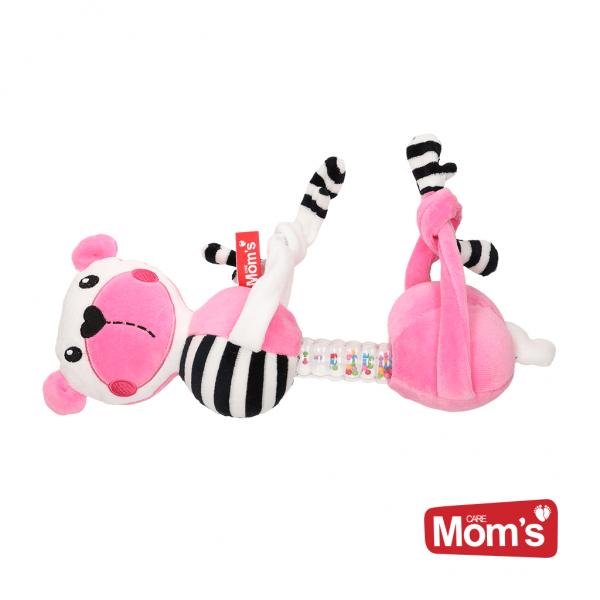 Hencz Toys Edukačná hračka závesná s hrkálkou Macko - ružový