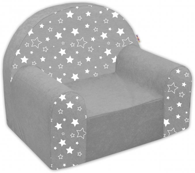 Detské kresielko / pohovečka Nellys ® - Magic star - sivé