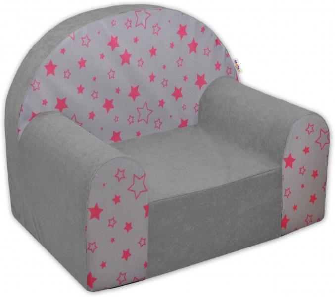 Detské kresielko / pohovečka Nellys ® - Magic star - sivé/ružové hviezdy