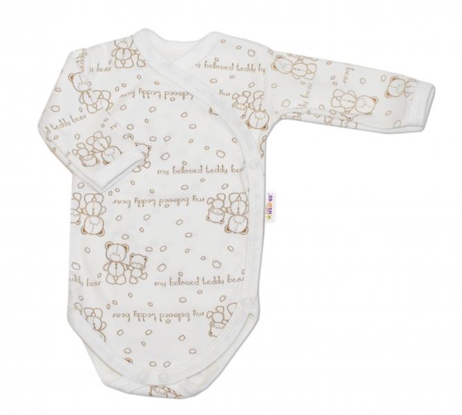 BABY NELLYS Body pre predčasne narodené deti Baby Teddy - dlhý rukáv - zapínanie bokom-40