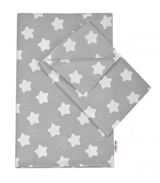 Baby Nellys Bavlnené obliečky 140 x 200/70x80 - Sweet Stars - sivá