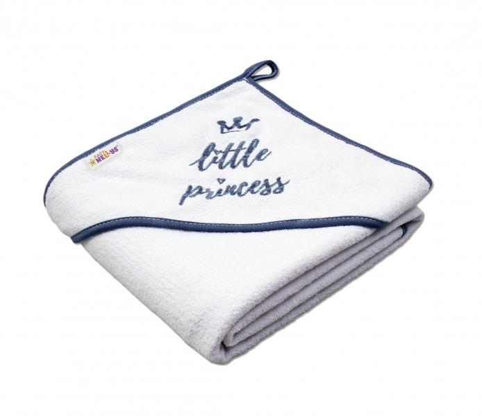 Detská termoosuška Little princess s kapucňou, 80 x 80 cm - biela, sivá výšivka