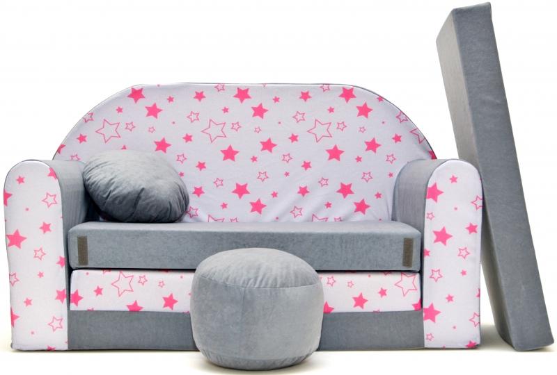 Rozkladacia detská pohovka Nellys ® 82R - Magic stars - šedé/růžové hvězdičky