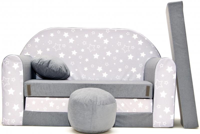 Rozkladacia detská pohovka Nellys ® 83R - Magic stars - bílošedé hvězdičky