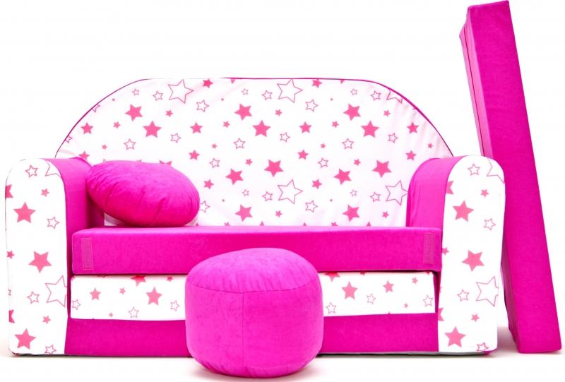 Rozkladacia detská pohovka Nellys ® 86R - Magic stars - ružové